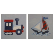 Artwork Childrens Room Decor - Travel Set Red Kids Wall Art Canvas (Set of 2)
